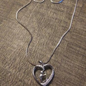 STERLING SILVER MOTHER HOLDING DAUGHTER PENDANT